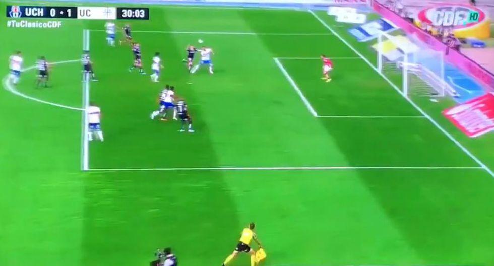 Lanaro anota el 1-0 de Universidad Católica contra U. de Chile. (Twitter)