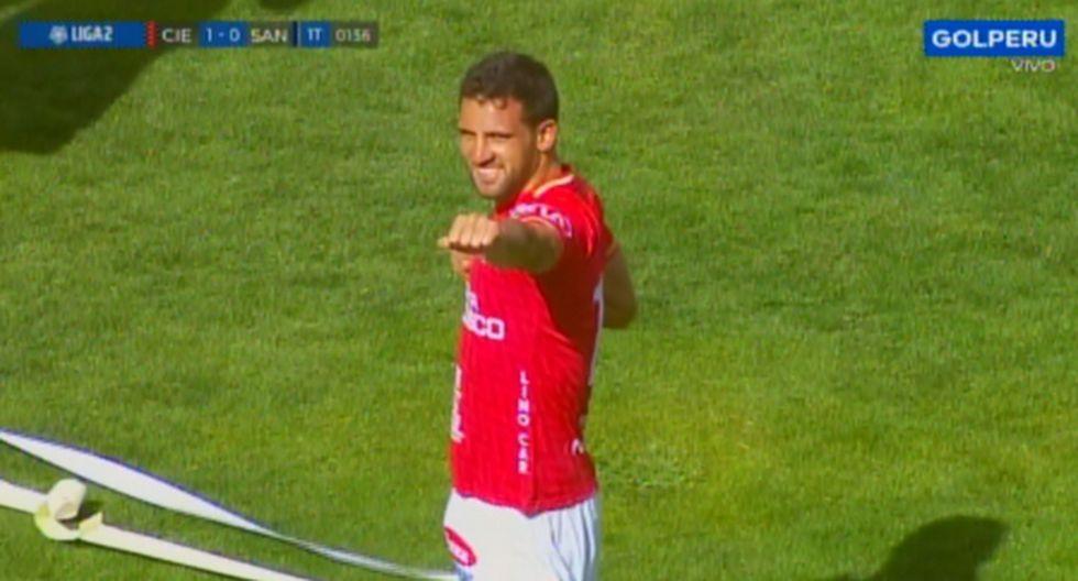 Breno Naranjo marca el gol que le está dando el ascenso a Cienciano (Foto: GOLPERU)