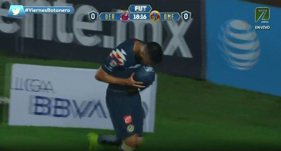 El error de Jurado para el gol de Valdez en el América vs. Veracruz. (TV Azteca)